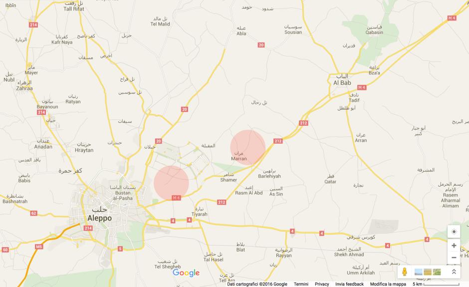 I due cerchi rossi indicano la posizione approssimativa dell'esercito del regime siriano (a circa 5Km da Aleppo) e dell'ISIS (a circa 15Km da Aleppo). Entrambi gli eserciti erano e tutt'ora sono interessati a sfondare l'accesso ad Aleppo.